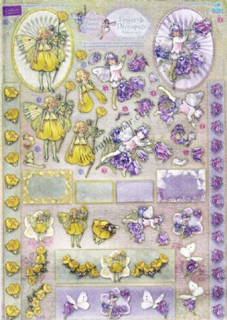 Buttercup & Canterbury Bell Flower Fairy Freestyle 3d Die Cut Decoupage Sheet From Dufex